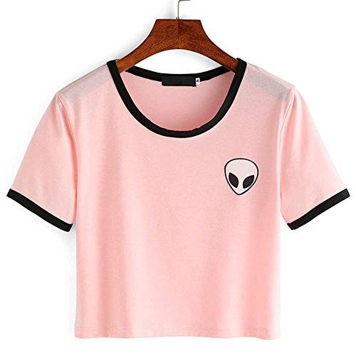 Blogger Striped ET Teen Girls Alien Crop Top Slim Tees Short Sleeve T-shirt (M(US10-12), Pink) (Clothing Teen Girls compare prices)