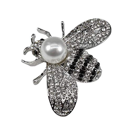 - ZUOZUOYA Honey Bee Brooches,Silver Tone and Mother of Pearl Brooch