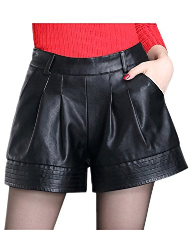 Tanming Women's High Waist Faux Leather Short (Large, Black) (For Women Leather Shorts)