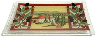 product image for Peggy Karr Handcrafted Art Glass Tuscan Villa Serving Tray, Rectangular, 14-Inch