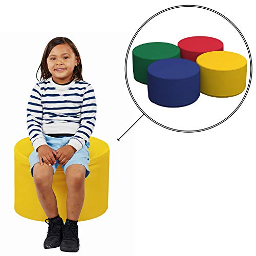FDP SoftScape 18 Round Ottoman, Collaborative Flexible Seating for Kids, Teens, Adults, Furniture for Classrooms, Offices and Home, Junior 12 H, 4-Piece Set – Assorted