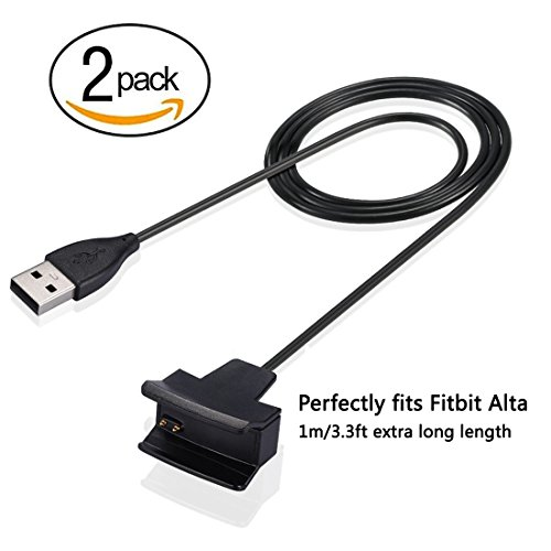 2Pcs Fitbit Alta Charger, EveShine [Extra Length] 3.3ft /1M Replacement USB Charging Cable