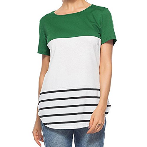 longues à manches Tefamore rayé décontracté manches Vert shirt ❤️Femmes courtes à T wgFYTT