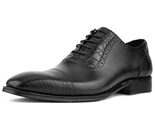 Asher Green Men's Genuine Leather Lace Up Oxford Dress Shoe with Croco Embossed Cap Toe, Vamp, and Backstay, Style AG3077 Black