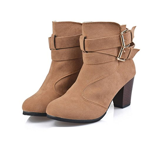 womens belted zipper chunky stacked heel ankle