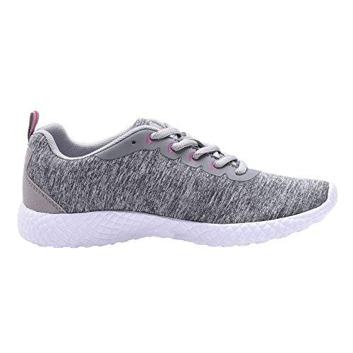 COODO Damen Leichte Turnschuhe Casual Athletisch Laufende Wanderschuhe 7-lt.grau / weiß