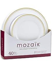 Mozaik Premium Plastic Gold Banded Plate Set, 40 Pieces