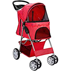 9rit_shop Happy Multiple Windows for Breathability Roomy Design with Large Undercarriage Foldable Lightweight 4 Wheeler Walk Stroller Travel Folding Carrier Red Pet Stroller