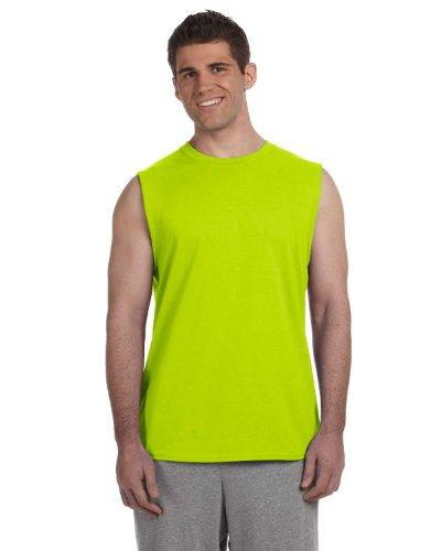 Green Sleeveless Cotton Shirt (Gildan Ultra Cotton 6 oz. Sleeveless T-Shirt, 2XL, SAFETY GREEN)