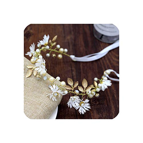(White/Red Daisy Flower Gold Leaf Headband Ribbon Wreath Pearl Floral Bridal Hairband Tiaras Garlands Wedding Hair Accessories,White,China)