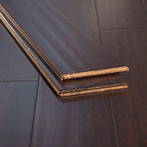 Ambient Bamboo - Bamboo Flooring Sample, Color: Coffee Handscraped, Solid Strand Tongue and Groove