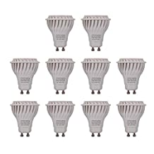 ChiChinLighting 10p LED Gu10 Daylight 6000k Color, 7w LED Gu10 50w Halogen Gu10 Replacement, Daylight gu10 LED 550lm Brightest LED Gu10 in Market, Best LED bulbs Home and commercial lighting