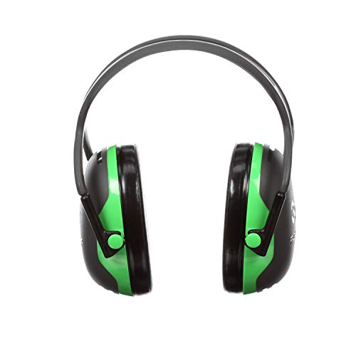 3M Peltor X-Series Over-the-Head Earmuffs, NRR 22 dB, One Size Fits Most, Black/Green X1A (Pack of ()