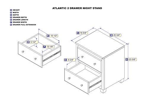 Atlantic 2 Drawer Night Stand, Antique Walnut