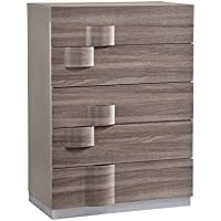 Global Furniture ADEL (119A)-CHEST Chest, 37 x 22 x 49, Grey High Gloss & Zebra Wood