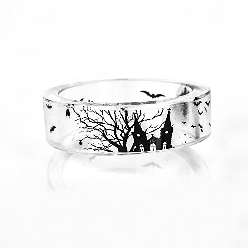 Rinhoo DIY Handmade Dried Flower Resin Ring Bat Cemetery Transparent Dry Flower Scenery Ring Women Girls Jewelry(8)