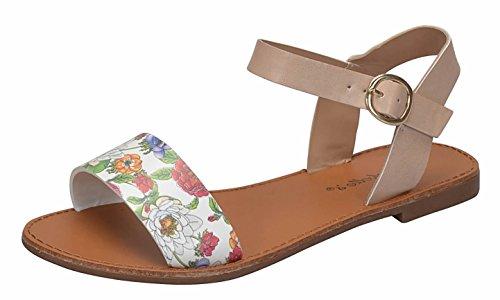 Breckelles Women's Minimalist Strappy Ankle Wrap Buckle Flat Sandal (7.5 B(M) US, Floral - Floral Womens Sandals