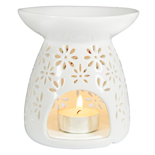Vase Shape Ceramic Tea Light Holder, Aromatherapy Essential Oil Burner, Great Decoration for Living Room, Balcony, Patio, Porch & Garden