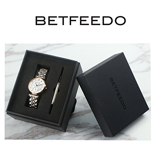 Wrist Watch for Women, Ladies Watch,Rose Gold Watch for Girls,BETFEEDO Waterproof Quartz Dress Watches (Rose Gold/Silver) by Bet Feedo (Image #5)