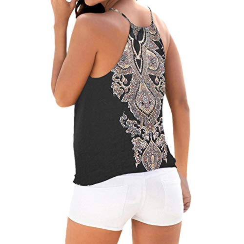 WUAI Tops for Women, Bohemian Print Sleeveless Vest Halter Cami Tank Top Crop Tee(Black,Large) by WUAI (Image #1)