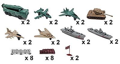 32 Pcs Army Set with Tanks Missiles Jets (Bonus 4 Jumbo Size Soldiers)