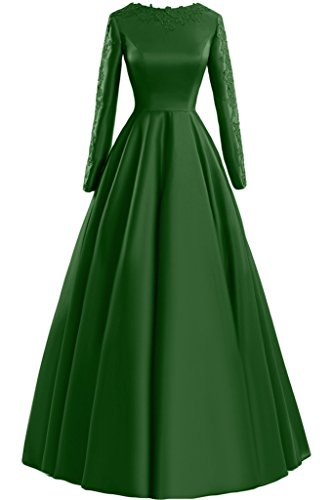 Sunvary pizzo A-line Scoop maniche lunghe, con scritta: Evening Dresses Party Gowns, Verde, 24W