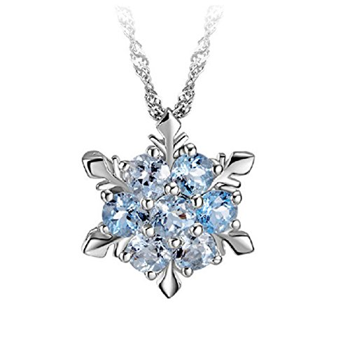 Rurah Women Christmas Gift Snowflake Flower Zircon Necklace Temperament Beautiful Sweater Jewelry Pendant Necklace ,Navy blue
