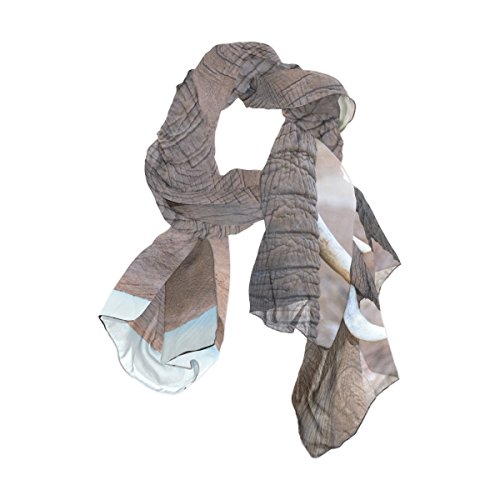Lightweight Silk Scarves Elephant Vertebrate South Africa African Thin Shawl for Women by Josid
