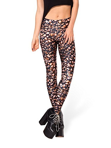 Zanuce Women's 2015 NEW Anime Print Pattern Tight Stretch Leggings(Coffee beans)
