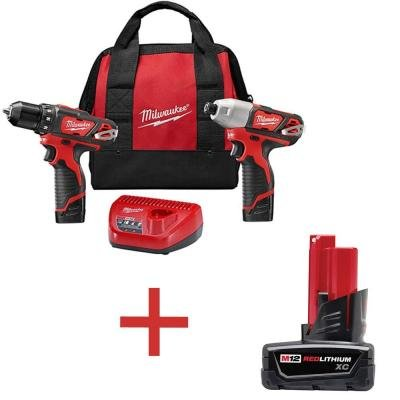 M12 12-Volt Lithium-Ion Cordless Drill Driver Impact Driver Combo Kit 2-Tool with Free M12 XC Battery Pack