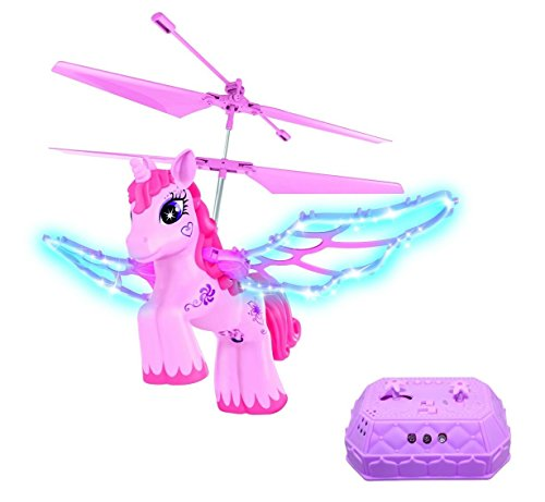 Haktoys HAK201 RC Pink Unicorn Helicopter for Girls with Flapping Wings - LED Lights & Music (On/Off)