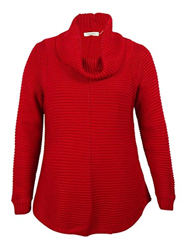 Calvin Klein Womens Cowl-Neck Ribbed Knit Sweater (Red, 1X)
