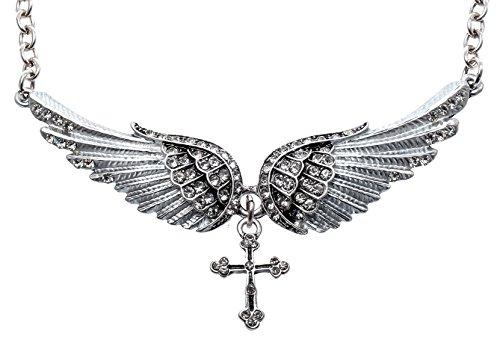 Womens Fallen Angel Costume (Hiddlston Crystal Guardian Angel Wing Jewelry Cross Custom Choker Necklace Chain For Women Teen)