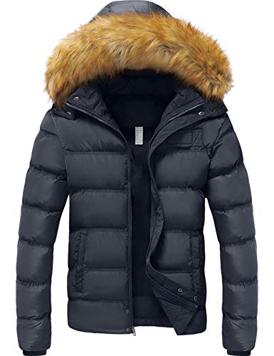 YXP Men's Winter Thicken Cotton Coat Warm Puffer Jacket with Removable Fur Hood