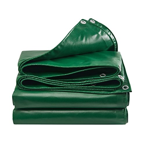- LXLA- Waterproof Tarpaulin With Eyelets Rainproof Tarp Sheet Thicken Sunscreen Shed Cloth Canvas Outdoor Awning Shade - 450g/m², Green (Size : 2m x 2m)