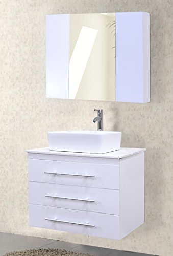 Design Element Portland Wall-Mount Single Vessel Square Ceramic Sink Vanity Set with Carrara White Marble Countertop and White Finish, 30-Inch