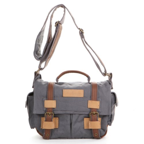 THG Waterproof Smoke Gray High Density Pure Canvas Vintage SLR DSLR Camera Messenger Shoulder Case Bag Handbag For f. Nikon Sony Canon Pentax Olympus