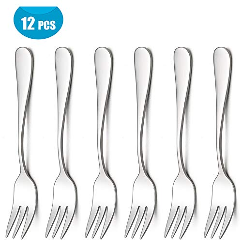(LIANYU Appetizer Dessert Forks Set of 12, Stainless Steel Small Salad Cake Fork, Mirror Finish, Dishwasher Safe)