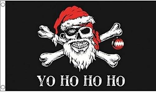 100/% Polyester Yo Ho Ho Christmas Pirate Skull Santa Flag 5 x 3 FT