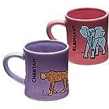 Wildini BittyMugs Elephant/Cheetah - Kid Sized Mugs, Baby Mugs, Ceramic, 4oz, BPA FREE, Montessori Preschool Mug, Plastic Free, Sippy Cup Replacement, Kid Sized Cup, Bitty Mug Set