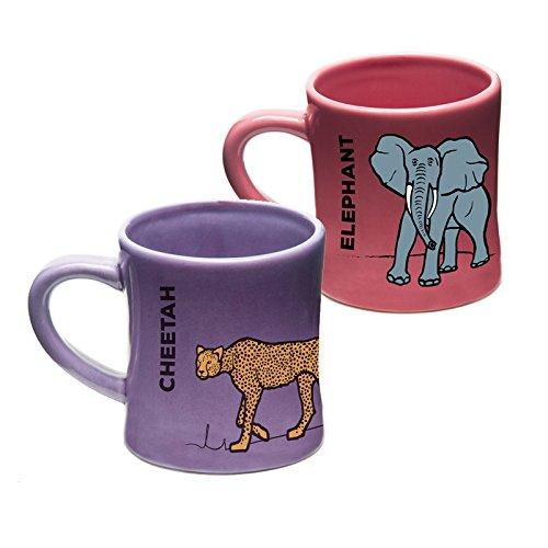 Wildini BittyMugs Elephant/Cheetah - Kid Sized Mugs, Baby Mugs, Ceramic, 4oz, BPA FREE, Montessori Preschool Mug, Plastic Free, Sippy Cup Replacement, Kid Sized Cup, Bitty Mug - Mug Cheetah
