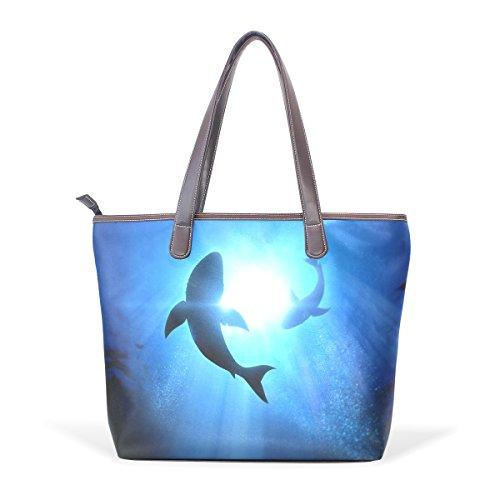 COOSUN Dophins nadan grandes mango de cuero Bolsa de hombro bolsa de asas de mano de PU M (40x29x9) cm Multicolor # 001