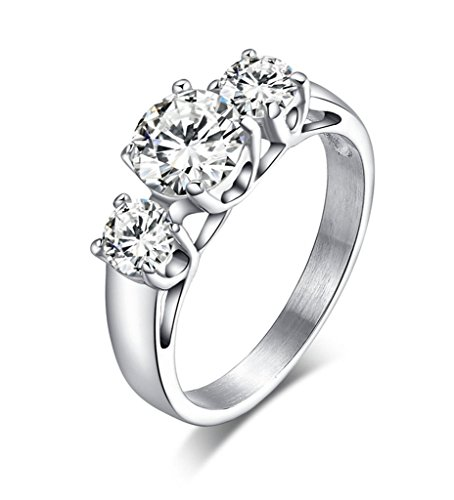 Stainless Steel Engagement Ring for Women Tri-Cubic Zirconia Crystal Jewelry,6mm width,Size 6