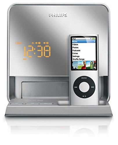 Philips DC190B Portable Alarm Clock Radio Speaker System w/Dock Connector for iPod & iPhone (Silver)