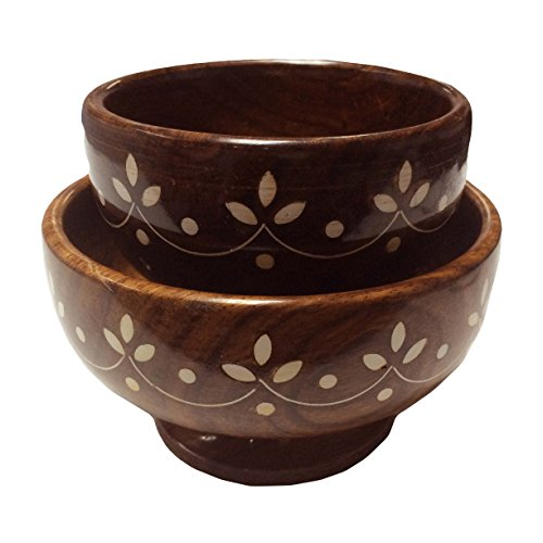 Easter Day Gift Wooden Bowl With Handicrafts (Sheesham wood)- Set Of Two.Serving Bowl,Thanks Giving or Valentine's Day Gift