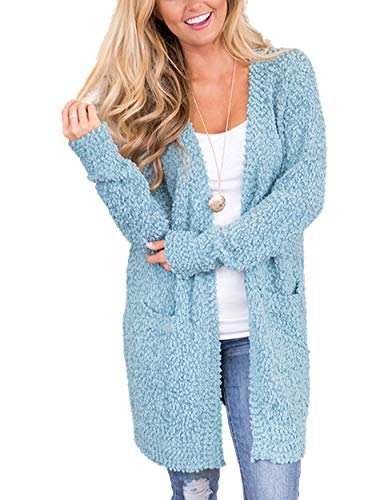 MEROKEETY Women's Long Sleeve Soft Chunky Knit Sweater Open Front Cardigan Outwear with Pockets by MEROKEETY (Image #1)