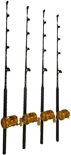 Combo (4) 50 Wide 2 Speed Reels and (4) 100-120 Lb. Blue Marlin Tournament Edition Fishing Rods