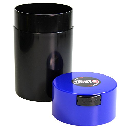Tightvac - 1 oz to 6 ounce Airtight Multi-Use Vacuum Seal Portable Storage Container for Dry Goods, Food, and Herbs - Dark Blue Cap & Black body by Tightpac America, Inc. (Image #1)