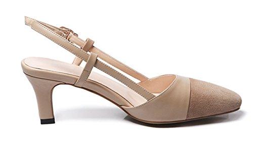 Mujer Sandalias Albaricoque Yogly Elegante Ancho Cuero 2018 Zapatos Puntiagudas Verano De Tacón Punta Alto rwxUrO0I