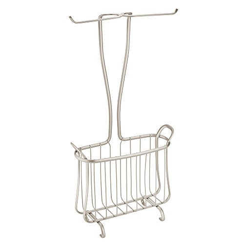 InterDesign Axis Free Standing Toilet Paper Holder and Newspaper and Magazine Rack for Bathroom - Satin ()